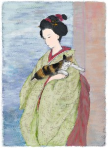 A woman and cat,original